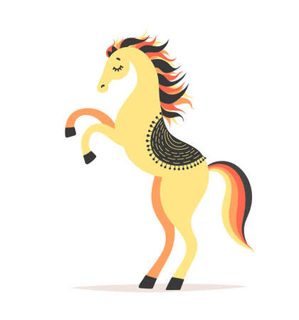 Vector illustration of horse reared. Circus artist doing trick. Cartoon character