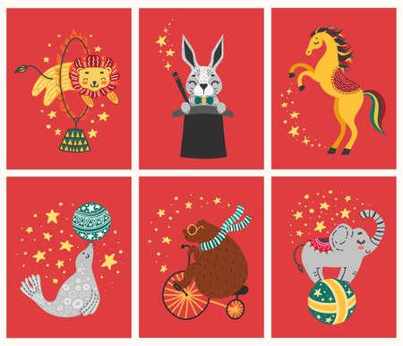 Vector illustration of circus animal. Cute cartoon characters Set