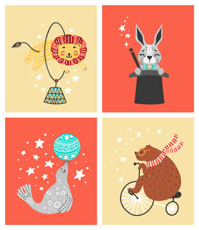 Vector illustration of circus animal. Cute cartoon characters. Set Çizim