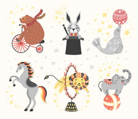 Vector illustration of circus animal. Cute cartoon characters. Set Ilustrace