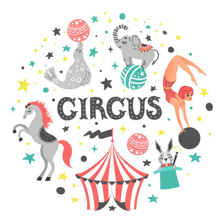 Circus animal cute cartoon characters set vector illustration. Ilustrace