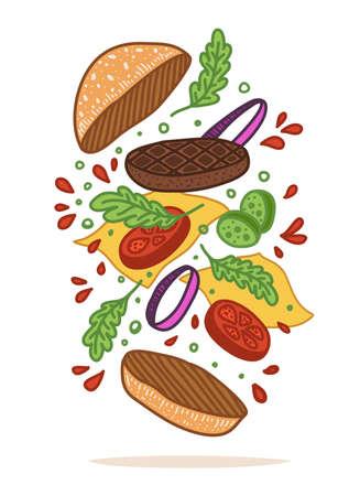 Vector illustration. Flipping burger. Cartoon flat style. Food levitation