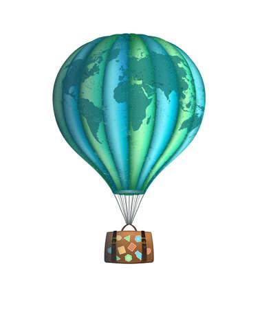 Vector conceptuele kunst van hete luchtballon met bagage geïsoleerd op wit. Conceptreizen rond de wereld Vector Illustratie