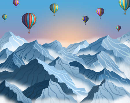 Mountain landscape with colorful hot air balloons in realistic 3d style. Blue winter cliffs