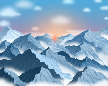 Vector illustration of mountain landscape with sunrise or sunset. Blue winter cliffs with fog