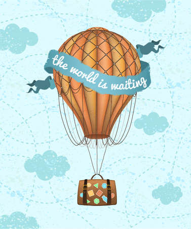 Vector conceptual art of hot air balloon with baggage. Concept of travel around world. Ilustração