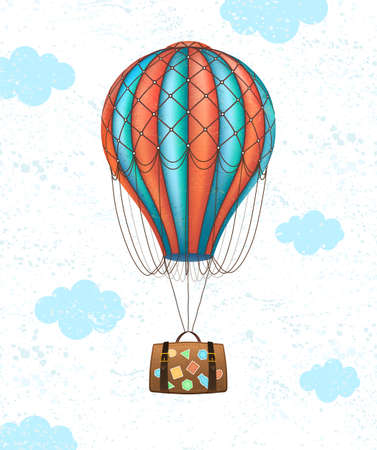 Vector conceptual art of hot air balloon with baggage. Concept of travel around world. Illustration