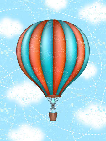 Vector conceptual art of hot air balloon. Concept of travel around world