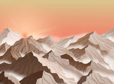 Vector illustration of mountain landscape with sunrise or sunset. Brown cliffs with fog Ilustração
