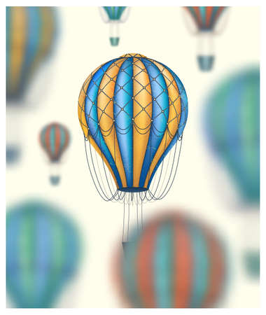 Vector conceptual art of hot air balloons blurred on background. Concept of travel around the world.