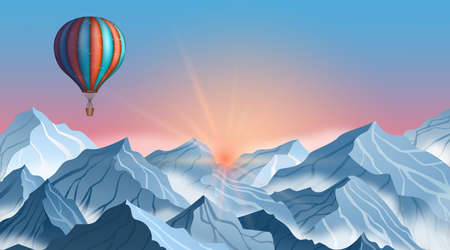 Mountain landscape with colorful hot air balloon in realistic 3d style. Blue winter cliffs Illustration