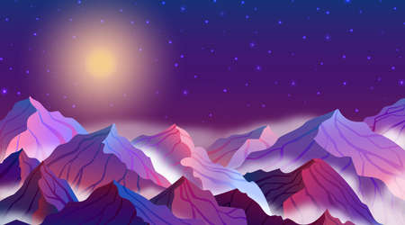 Vector illustration of night landscape with mountains, stars, full moon