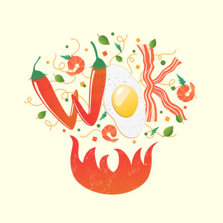 Wok logo for thai or chinese restaurant. Stir fry with edible letters. Cooking process vector illustration. Flipping Asian food over fire. Cartoon style