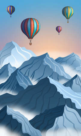 Mountain landscape with colorful hot air balloon in realistic 3d style. Blue winter cliffs Ilustração