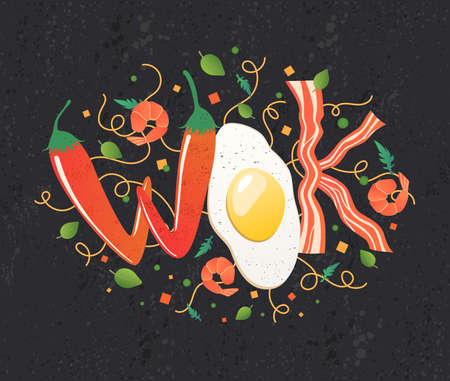 Wok logo for thai or chinese restaurant. Stir fry with edible letters. Cooking process vector illustration. Flipping Asian food on dark background. Cartoon style.