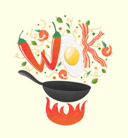 Logotipo de wok para restaurante tailandés o chino. Sofreír con letras comestibles. Ilustración de vector de proceso de cocción. Voltear comida asiática en una sartén. Estilo de dibujos animados.