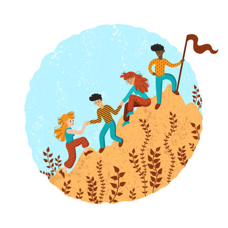 Group of climbers helping each other. Concept of teamwork. International business people in mountains. Leader on the top. Vector illustration in flat cartoon style.