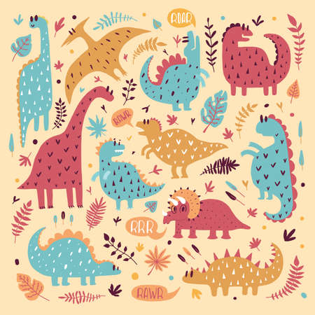 Illustration of cute dinosaurs with tropical leaves. Hand drawn vector pattern. Cute kids dino design