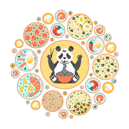 Panda eating noodles with chopsticks. Chinese dishes on the plates. Top view. Circle composition with different food. Poster for chinese or japanese cafe. Illustration