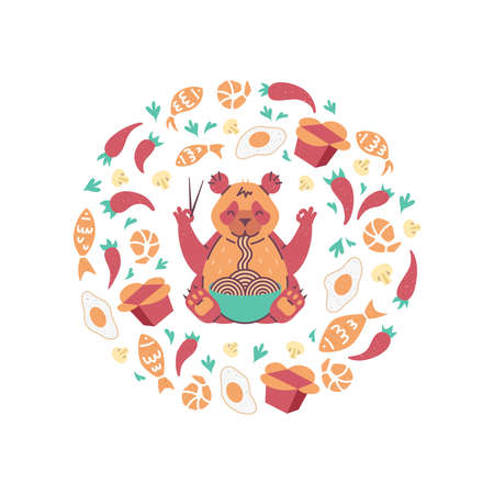 Red Panda eating noodles with chopsticks. Flying food in circle composition. Poster for chinese or japanese cafe.