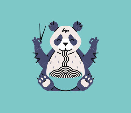 Panda eating noodles with chopsticks. Simple animal logotype for chinese or japanese cafe or poster. Cartoon style.