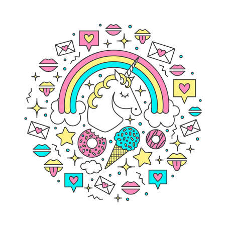 Vector illustration with unicorn, rainbow, clouds, stars, ice cream, donuts, message, lips. Cartoon style cute character