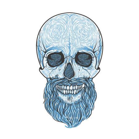 Menschlicher Schädel mit Bart-Stammes-Stil. Gezeichnete Illustration des Vektors Hand. Boho Tattoo Blackwork-Design Vektorgrafik