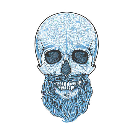 Human skull with beard tribal style. Vector hand drawn illustration. Boho tattoo blackwork design