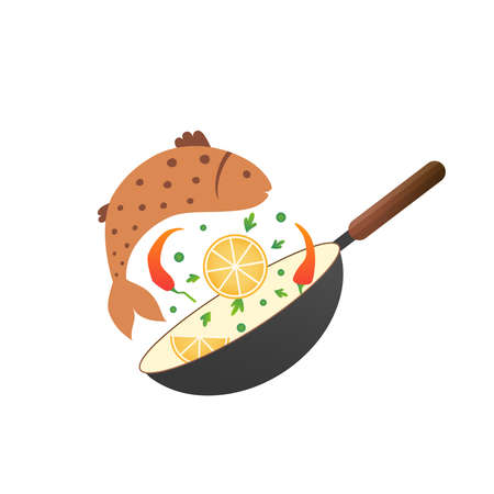 Illustrazione di vettore del processo di cottura. Girare l'uovo in padella. Stile piatto cartone animato Vettoriali