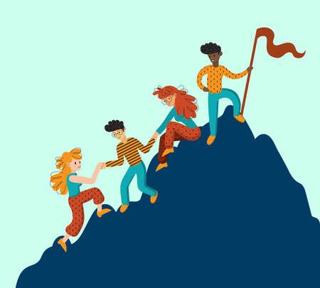 Gruppo di scalatori che si aiutano a vicenda. Concetto di lavoro di squadra. Uomini d'affari internazionali in montagna. Leader in vetta. Illustrazione vettoriale in stile cartone animato piatto.
