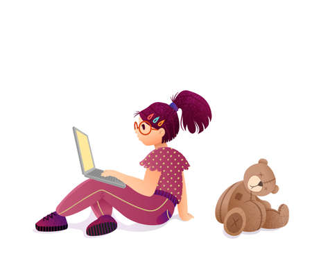 Concept of child internet addiction. Girl teenager sitting