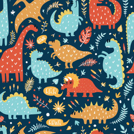Seamless pattern of cute dinosaurs with tropical leaves. Hand drawn vector illustration. Cute design for kids.