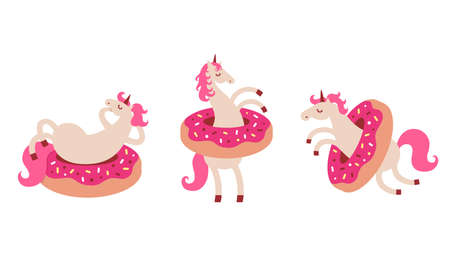 Set of funny unicorn in donuts. Cartoon style cute character