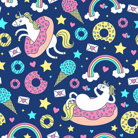 Seamless pattern with fun unicorns in donuts. Vector cartoon style cute