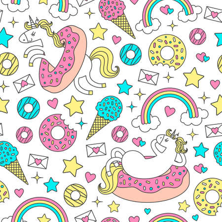 Seamless pattern with fun unicorns in donuts. Vector cartoon style cute character
