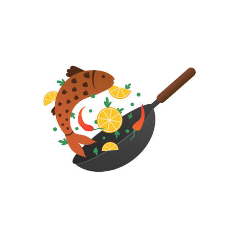 Cooking process vector illustration. Flipping fry fish in a pan with lemon. Cartoon flat style Vectores
