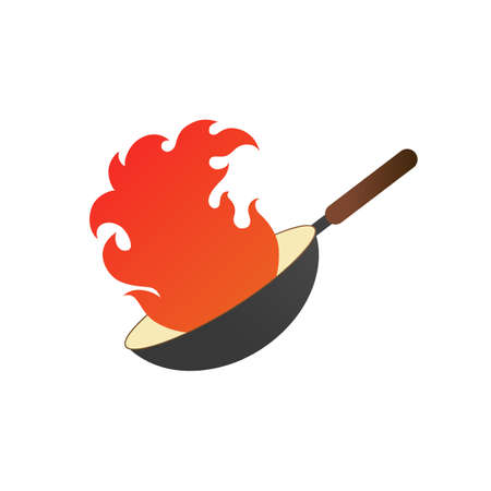 Pan with fire. Wok logo vector illustration with red flames