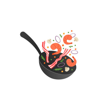 Cooking process vector illustration. Flipping fry shrimps and bacon in a pan. Cartoon flat style