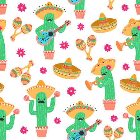 Seamless pattern with cute mexican cactus playing on guitar and trumpet and dancing with maracas. Vector illustration Vectores