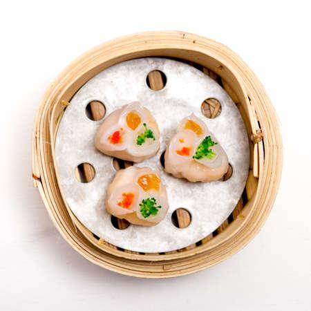 dim sum: yumcha, dim sum in bamboo steamer, chinese cuisine