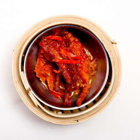 yumcha, dim sum in bamboo steamer, chinese cuisine photo
