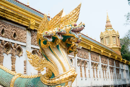 tragic: Many headed Naga statue closeup - decoration at every Buddhist temple in Thailand