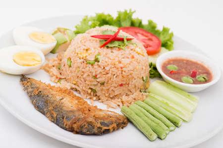 close up food: Chili paste with fried mackerel and vegetable Thai food,Thai food, Shrimp paste with fried mackerel and vegetable,chili paste