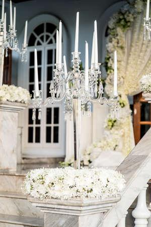 Old fashioned baroque elegant candlestick isolated Stock Photo