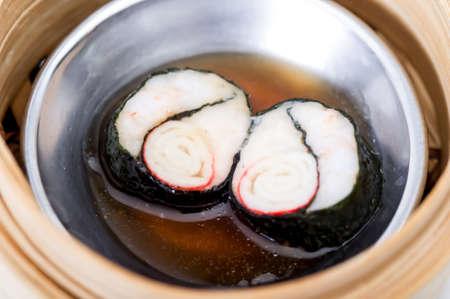 cha: yumcha, dim sum in bamboo steamer, chinese cuisine