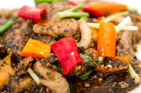snap bean: chinese black bean beef stir fry,Pan of the chicken, pepper, mushroom, onion and tomato,Sizzling beef with black pepper Stock Photo