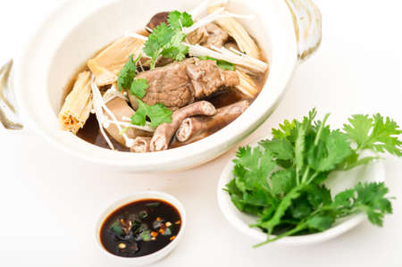 ba: Claypot Cooked Pork Rib Soup With Isolated Background,pork and herbal soup, ba kut teh