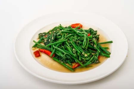 soya bean: Fried bitter gourd leaf with oyster sauce , Thai style food,Stir-Fried Sayate Wish Salted Soya Bean, Fried vegetables Stock Photo