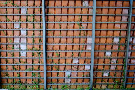 rejas de hierro: Arcilla cocida nivel del techo en las barras de hierro oxidado