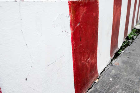 carriageway: driveway, sidewalk and curb red-white Stock Photo